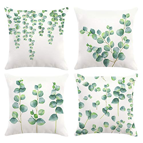 Bonhause Eucalyptus Leaves Cushion Covers 18 x 18 Inch Set of 4 Green Plants Decorative Throw Pillow Covers Soft Velvet Pillowcases for Sofa Couch Car Bedroom Home Décor, 45cm x 45cm