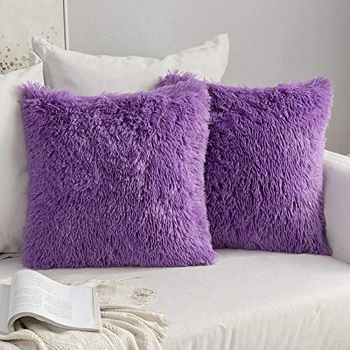 MIULEE Pack of 2 Faux Fur Throw Pillow Cover Fluffy Soft Decorative Square Pillow covers Plush Case Faux Fur Cushion Covers For Livingroom Sofa Bedroom 16'x16' Purple