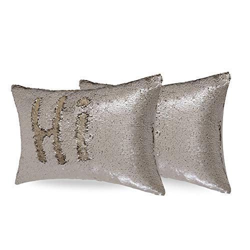2PCS Pack Full Sequin Decorative Cushion Cover 12X20' Matte Champagne Light Gold 2-tone Reversible Sequins Glitter Mermaid Throw Pillows Accent Pillow Cover for Couch Bed Sofa Party Christmas Holiday