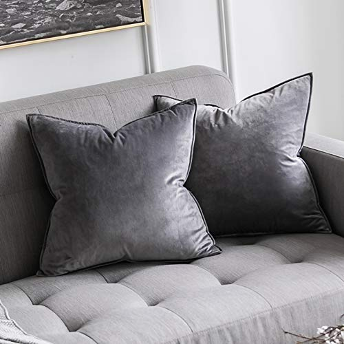 MIULEE Pack of 2 Velvet Soft Decorative Square Throw Pillow Case Flanges Cushion Covers Pillowcases for Livingroom Sofa Bedroom with Invisible Zipper 60cm x 60cm 24x24 Inch Set of Two Grey