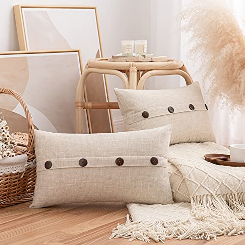 HAUSEIN Pack of 2 Burlap Linen Throw Pillow Covers with Buttons, Rustic Farmhouse Decorative Vintage Lumbar Cushion Pillows Case for Sofa Couch Bed Car Living Room Decor, Beige, 30 * 50 cm