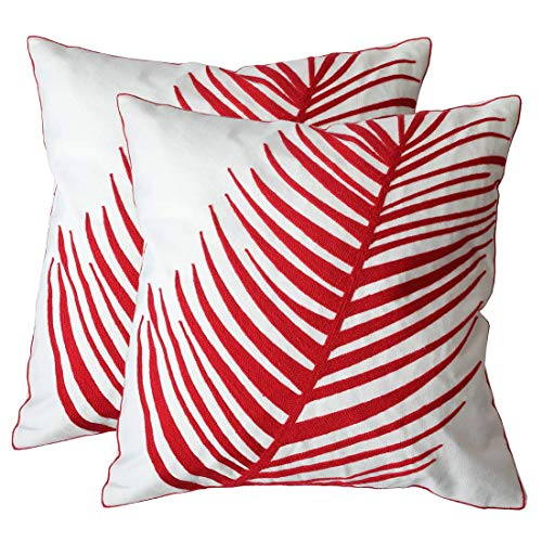 ZUODU 2PC European Classic Jacquard Decorative Red Cotton Pillow Cover Cushion Cover Throw Pillow Case 18 X 18 Inch 45 X45 Cm (Red-2PC)