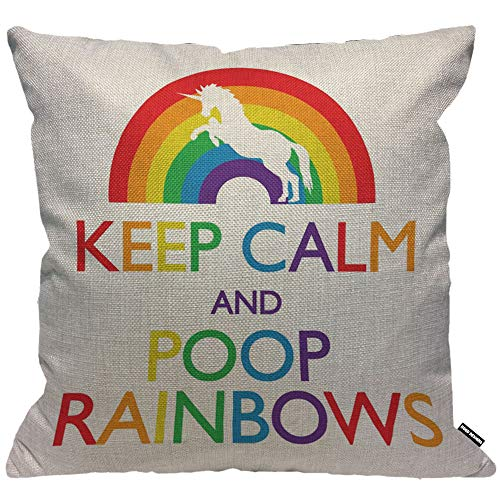 HGOD DESIGNS Cushion Cover Unicorn with Letter Keep Calm and Poop Rainbows,Throw Pillow Case Home Decorative for Men/Women Living Room Bedroom Sofa Chair 18X18 Inch Pillowcase 45X45cm