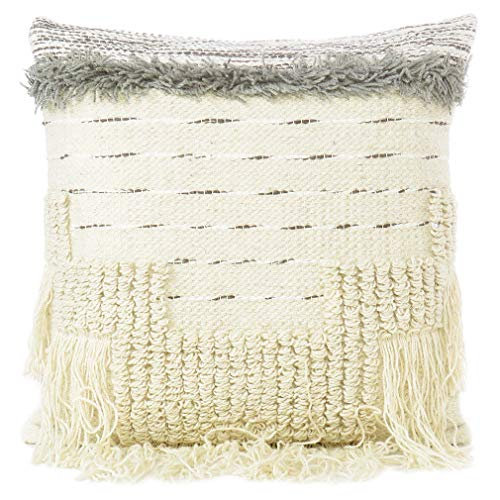 EYES OF INDIA - 20' Cream Grey Woven Tufted Colorful Pillow Wool Embroidered on Cotton Cushion Cover Case Fringe Sofa Couch Throw Boho Chic Bohemian Accent Indian Handmade COVER ONLY