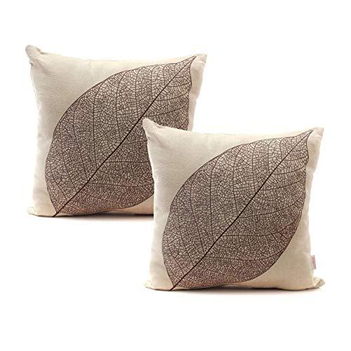 Luxbon 2 PCS Veins of a Leaf Decorative Cushion Cover Durable Cotton Linen Sofa Throw Pillow Case Shabby-chic Home Decors Skeleton Leaves Pillow Cover 42 X 42 CM