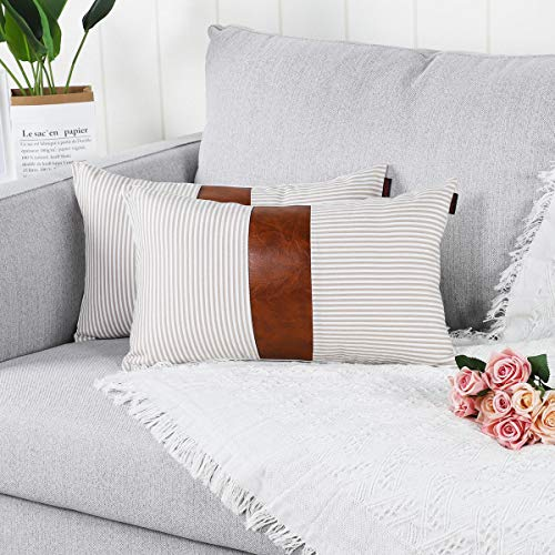 Mandioo Khaki Lumbar Farmhouse Decorative Cushion Covers 12x20 Inches Boho Accent Throw Pillowcases for Couch Sofa Bedroom Faux Leather Cotton Linen Stripe 30cmx50cm,Pack of 2
