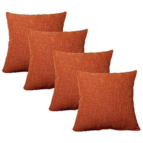 WEIXINHAI 4 Pieces Burlap Linen Throw Pillow Cover Cushion Covers 16'X16' Home Decorative Solid Square Christmas Pillowcase, Handmade with Invisible Zipper for Sofa Couch Bed, Car, Camping, Office