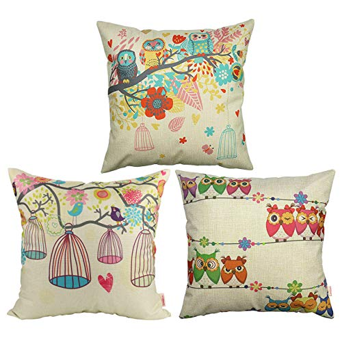 Luxbon Set of 3 Pcs Cushion Covers 18x18 Cartoon Cute Owl in the Tree Bird Cage Flower Sofa Throw Pillowcase 45x45cm Vintage Cotton Linen Cushion Case Covers Home Decors