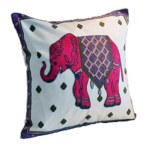 ZUODU Red Elephant Cushion Cover 45 x 45 Cm National Embroidery Bohemian Housewarming Car Home Decoration Cushion Cover/Throw Pillow Cover (Elephant-red)