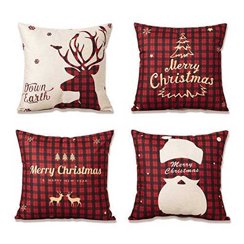 YKULEW Set of 4 pillow cover, 45 x 45 cm Square Cushion Cover Cotton Linen Throw Pillow Covers Christmas Tree Snowflake Decor for Sofa bed couch cushions(Christmas-2)