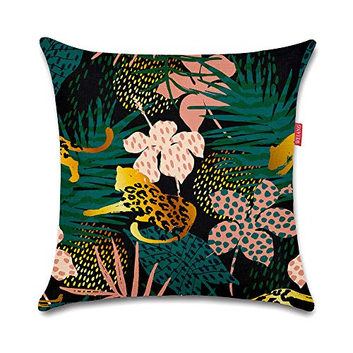 WEIANG Cushion Cover Double-Sided Tropical Leaf Botanical Painting Throw Pillowcase for Car Home Sofa Bed 45x45cm(18x18inch) one Piece