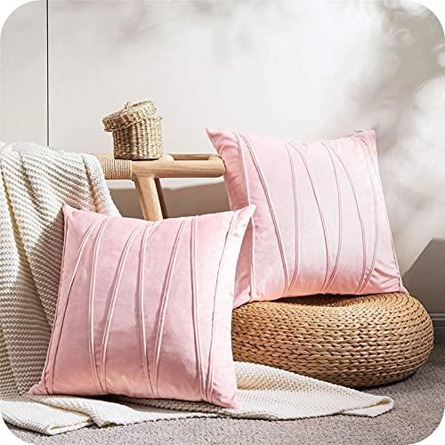 Topfinel Pink Cushion Covers 18 x 18 Velvet Throw Pillow Cases Couch Cushion Covers For Sofa Bedroom Livingroom Stripe Design Pillowcases 45cmx45cm Pack of 2