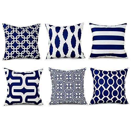 TIDWIACE Set of 6 Navy Blue Cushion Cover Cotton and linen Home Decorative - Accent Throw Pillow Covers Case Pillowcases for Outdoor garden bed couch cushions Bedroom Car with Invisible Zipper 45x45cm