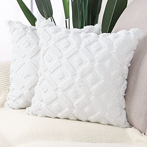 Madizz Pack of 2 Soft Plush Short Wool Velvet Decorative Cushion Covers Luxury Style Throw Pillow Cases Pillow Shell for Sofa Bedroom Square White 22x22 inch