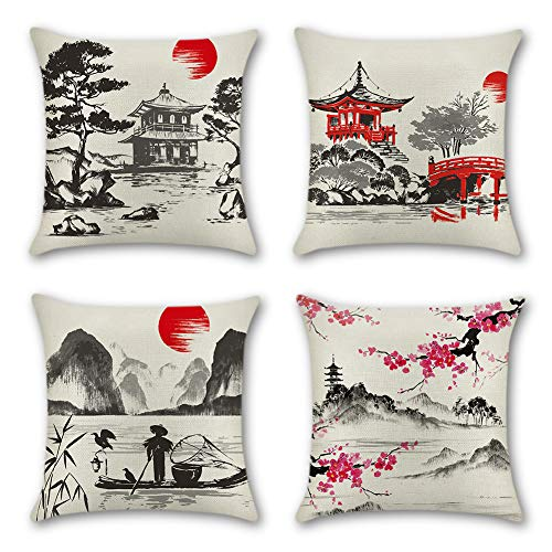 Artscope Home Decoration Cushion Covers Cotton Linen Square Pillow Cases for Sofa Car Seat Throw Pillow Covers 45 x 45 cm, Set of 4 (Japanese Style)