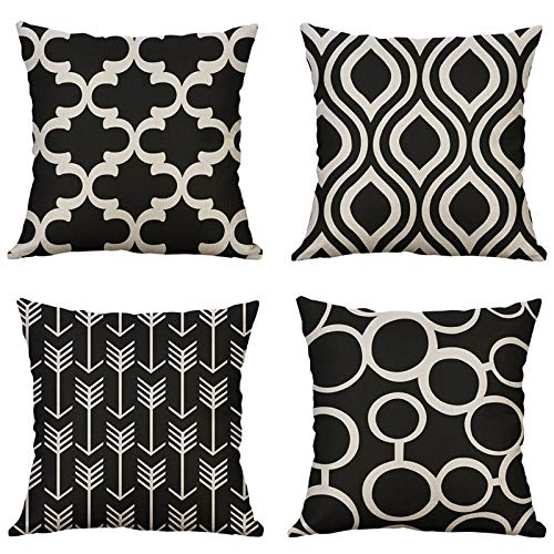 MIULEE Cushion Covers Pack of 4 Decorative Pillow Cover Black Geometric Pillow Cases European Modern Solid Square Home Decor for Sofa Bedroom 18x18 Inch 45x45cm
