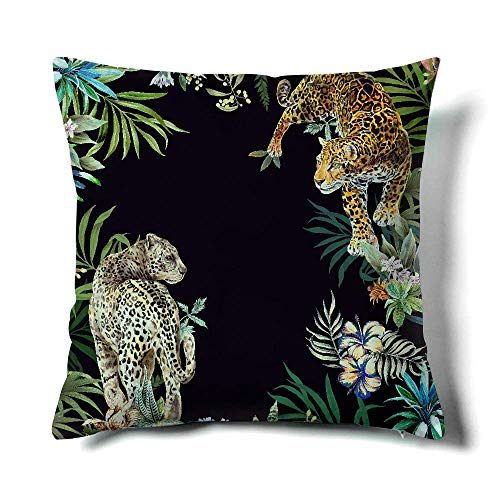 Happy Memories Decor Throw Pillow Cushion Cover, Classic Cashew Floral,Double Leopard Pattern,Floral Inspired Design Decorative Square Accent Pillow Case 1PCS (Black Background Double Leopard)