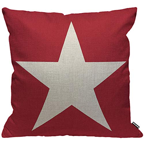 HGOD DESIGNS Cushion Cover Hot Star pattern Design On The Red Background Usa Star Throw Pillow Cover Home Decorative for Men/Women/Boys/Girls living room Bedroom Sofa Chair 18X18 Inch Pillowcase