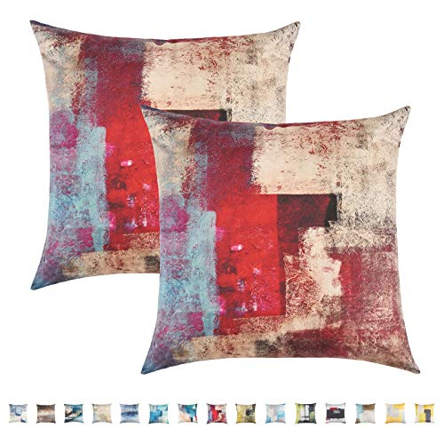 Pretty Jolly Abstract Art Throw Pillow Covers Gallery Modern Artwork Decorative Pillow Cushion Cover Short Plush Pillow Cases for Bedroom Sofa Living Room 18 x 18 Inch Set of 2 (Bloody Red)