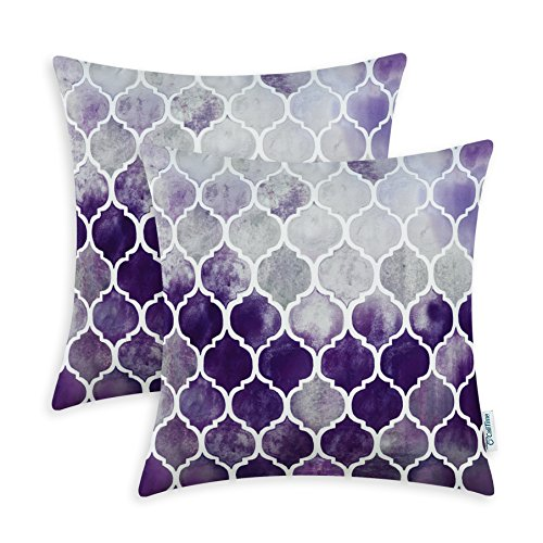 CaliTime Cushion Covers 2 Pack 45cm x 45cm Main Grey Purple Eggplant Manual Hand Painted Colorful Geometric Trellis Chain Print Throw Pillow Cases