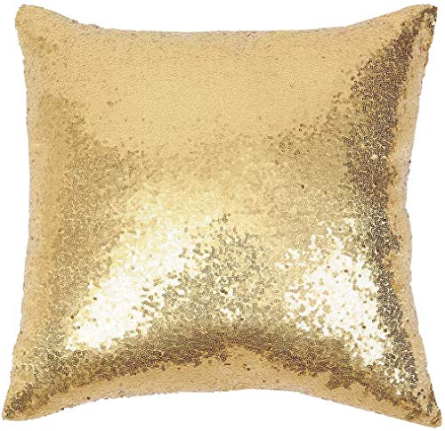 Eternal Beauty Decorative Square Sequin Cushion Covers 18'x18',Sparkling Throw Pillow Case for Home Decor Party Wedding with Invisible Zipper,Gold (45cmx45cm)