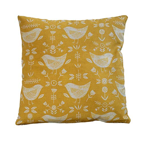 Scandinavian birds cushion cover. Modern ochre mustard yellow with birds and geometric floral design. 17'x17' (45cm) Square Pillow Case. Handmade in the UK from 100% Cotton.