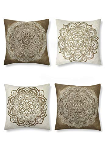SUMGAR Beige Coffee Mandala Throw Pillow Cases Brown and White Indian Boho Pattern Square Pillowcases Bohemian Decorative Cushion Covers Sofa Bed Car Floor with Invisible Zipper 45x45cm 4 Packs