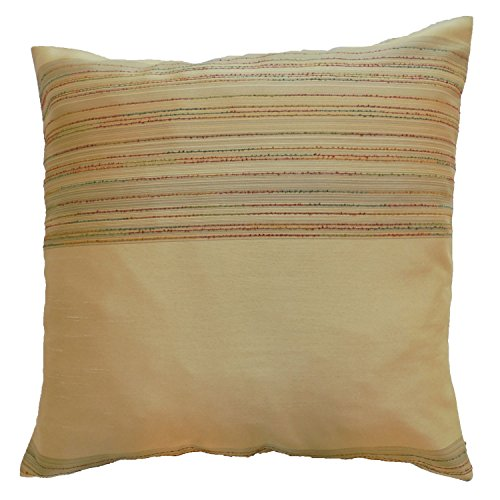 Pillow Cover Case Cushion *** Beige *** Thai Silk THROW 44 cm x 44 cm Wave elegant nice beautiful