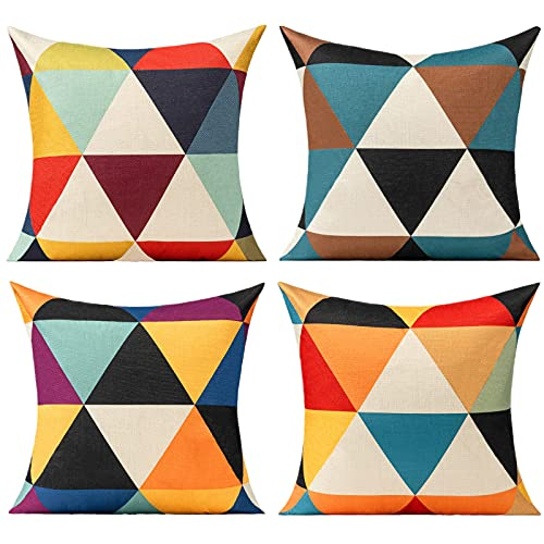 Coloured Geometric Cushion Covers Multicolour Funky Colourful Triangle Pillow Cover Outdoor Set of 4 18x18 for Sofa Living Room, Yellow Teal Blue Black Purple Red