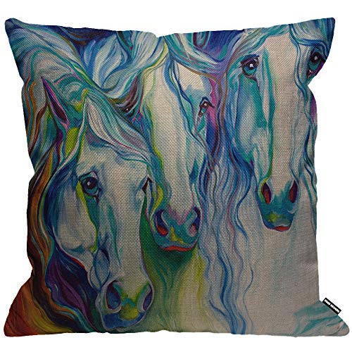 HGOD DESIGNS Cushion Cover Watercolor 3 Horse Together Throw Pillow Cover Home Decorative for Men/Women/Boys/Girls Living Room Bedroom Sofa Chair 18X18 Inch Pillowcase