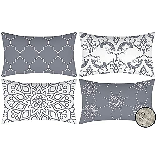 Outdoor Waterproof Cushion Covers Set of 4 Rectangle Gray Cotton Linen Throw Pillow Cases, 30x50cm, Suitable for Garden, Terrace, Bench Sofa Home Bedroom Decorative Cushion Cover (Grey)