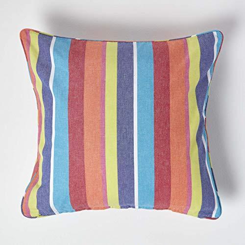 HOMESCAPES - 100% Cotton - Multi Stripes Large Cushion Cover- 60 x 60 cm Square - 24 x 24 Inches - Orange Yellow Blue - 100% Cotton Sofa Pillow Cushion Cover - Washable