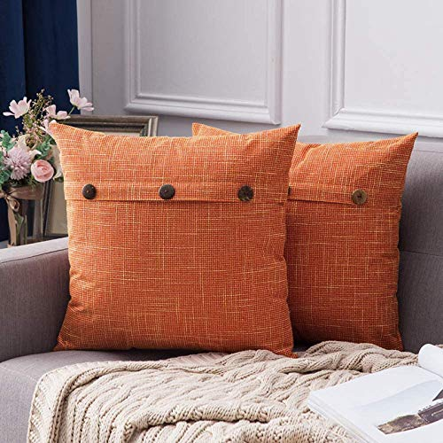 MIULEE Halloween Faux Linen Cushion Cover Button Cross Shape Square Throw Pillow Case Home for Sofa Chair Couch Bedroom Decorative Pillowcase Pack of 2 Orange 18 x 18 inch 45cm x 45cm
