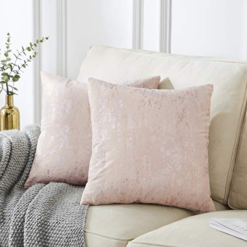 OMMATO Cream Cushion Covers 24 x 24 inch Square Soft Velvet Decorative Pillow Covers Silver Gold Print Throw Pillowcases for Couch Bed Living Room 60cm x 60cm Pack of 2