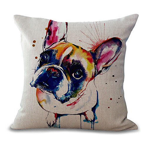 Hengjiang WEIANG Cushion Covers 45cmx45cm/18 x 18 French Bulldog Painting Series Clear Color Painting Cotton Linen Cushion Cover For Sofa Home Shop Bar Club Car Cat Dog Bed Decor MY-A1072-01 (#01)