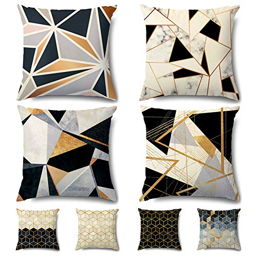 Artscope Cozy Double Sided Print Velvet Cushion Covers, 8 Diffreent Modern Patterns Soft Throw Pillow Covers for Sofa Couch Car Home Decor 45 x 45 cm, Set of 4 -Geometry 3D Graphics