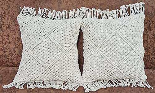 OMG-Deal 2pcs Decorative Bohemian Throw Pillow Cover Macrame Cushion Cover Wedding Decor Cushion 18 X 18 inches- Beautiful Gift Set