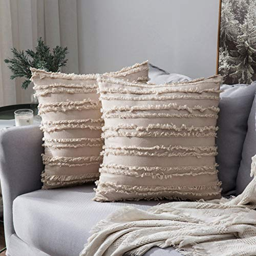 MIULEE Pack of 2 Linen Throw Pillow Decorative Cushion Covers Tassels Design Home Soild Case for Sofa Chair Couch Bedroom Decorative Pillowcases 26x26inch 65x65cm Beige