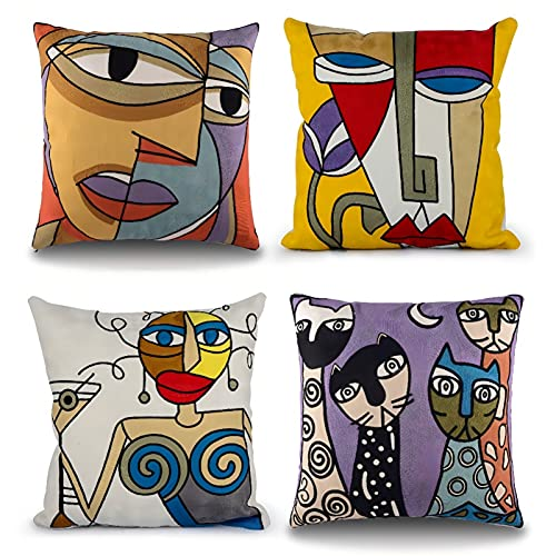 Topfinel Embroidery Cotton Picasso Design Throw Pillow Cases Cushion Covers Set of 4, 18 x18 Inch, Series