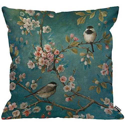 HGOD DESIGNS Cushion Cover Bird Two Bird Rest On Tree and Flower Blossom Throw Pillow Cover Home Decorative for Men/Women/Boys/Girls Living Room Bedroom Sofa Chair 18X18 Inch Pillowcase