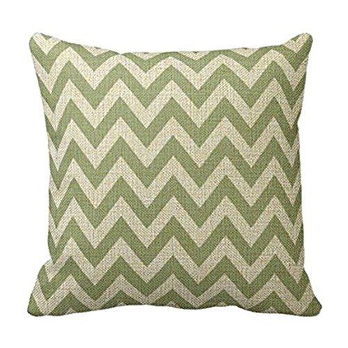 Cotton Linen Square Fashion Sage Green Chevron Zigzag Pattern Throw Pillowcase 18 x 18 Inches