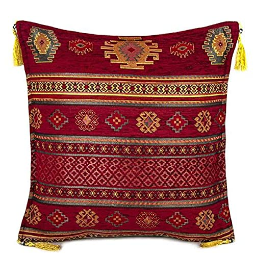 Hand-woven Kilim Cushion Cover Turkish Moroccan Style Traditional Vintage Cushion Cover Maroon Design 45cm x 45cm