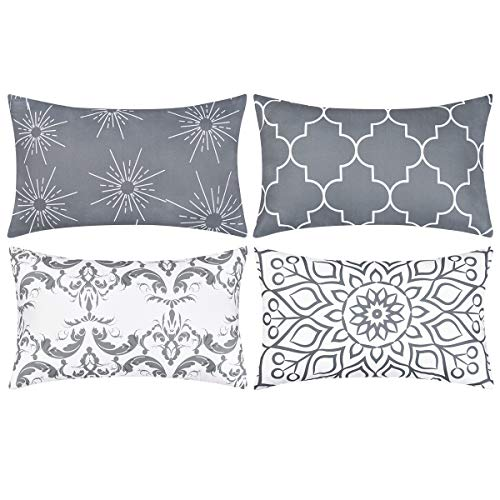 Alishomtll Geometric Pillowcases Cushion Covers 12x20 Inches Soft Plush Throw Pillow Covers 30cm x 50cm Polyester for Sofa Bedroom Garden Set of 4pcs, Grey