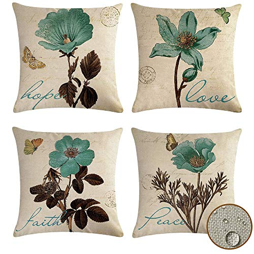 vigvog Pack of 4 Waterproof Throw Pillow Covers Flowers Pattern 45 x 45, Sqaure Garden Cushion Covers, Faith Hope Love Peace Inspirational Gifts for Friends, Family, Coworkers