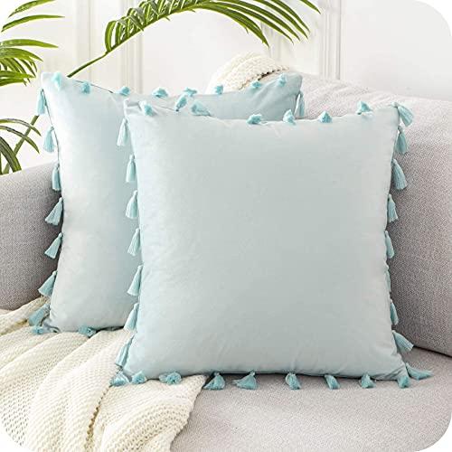 Topfinel Duck Egg Blue Velvet Tasseled Cushion Covers 20x20 Inch Soft Square Decorative Throw Pillowcases for Livingroom Sofa Bedroom 50cmx50cm,Pack of 2