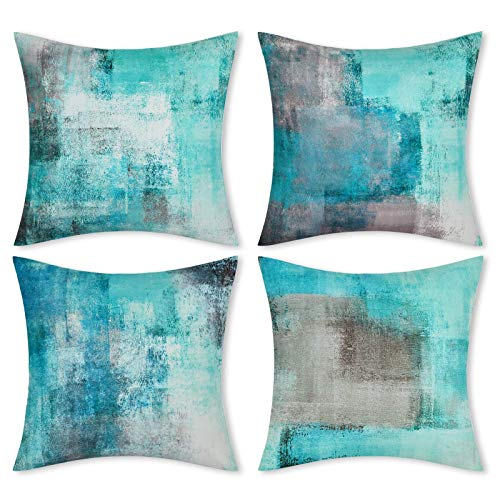 LighSele 45 x 45cm inch Throw Pillow Covers, Set of 4 Cushion Covers Modern Abstract Art Artwork Home Decorative Pillows Covers with Hidden Zipper for Sofa Bed Living Room Bedroom (Turquoise/Grey)