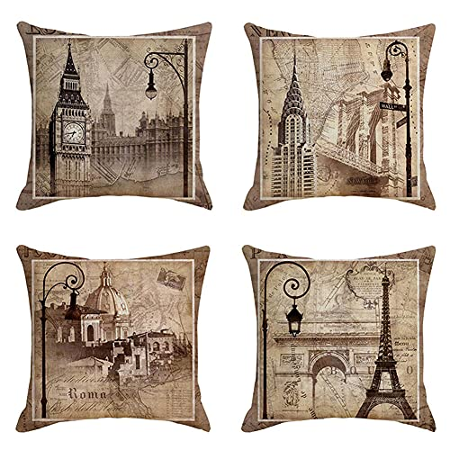 Throw Pillow Cover 80x80cm/32x32in Eiffel Tower Cushion Decorative Pillow Cover Square Double-Sided Cushion Cover 4 Pack Linen Cushion Covers,for Garden Couch Pet Sofa Bedroom Home Decoration B110