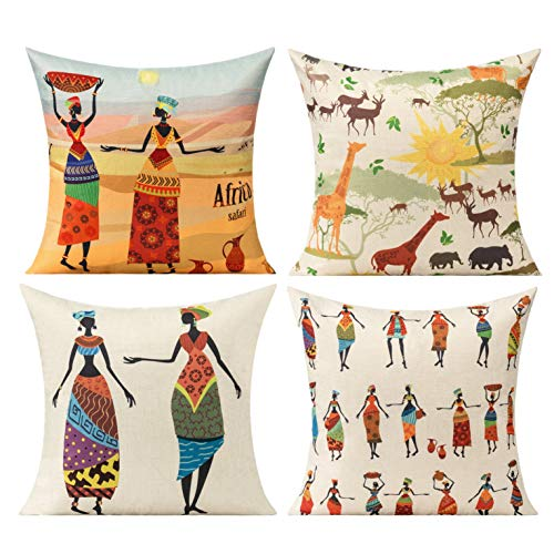All Smiles African Cushion Covers Ethnic Outdoor Tribe National Africa Print Pillowcases Savannah Animals Decor Throw Pillows Home Décoration 18' x18' Set of 4 for Couch Sofa Room