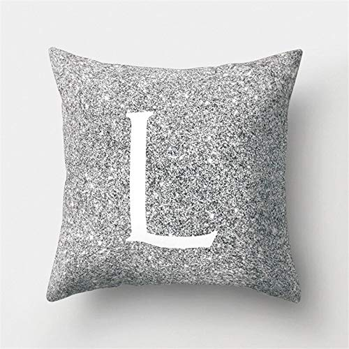 KDTCDBYMX Cushion Covers Cotton and Linen Silver Cushion Cover With Letters Printing Polyester Throw Pillow Home Decoration cm Decorative Cushion Cover