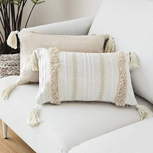 Decorative Boho Throw Pillow Cover,12x20 Beige Pillowcase for Couch Sofa Bed,Woven Tufted Cotton Cushion Case with Tassels for Living Room Office Car,30x50 Lumbar Pillow Beige and Yellowy
